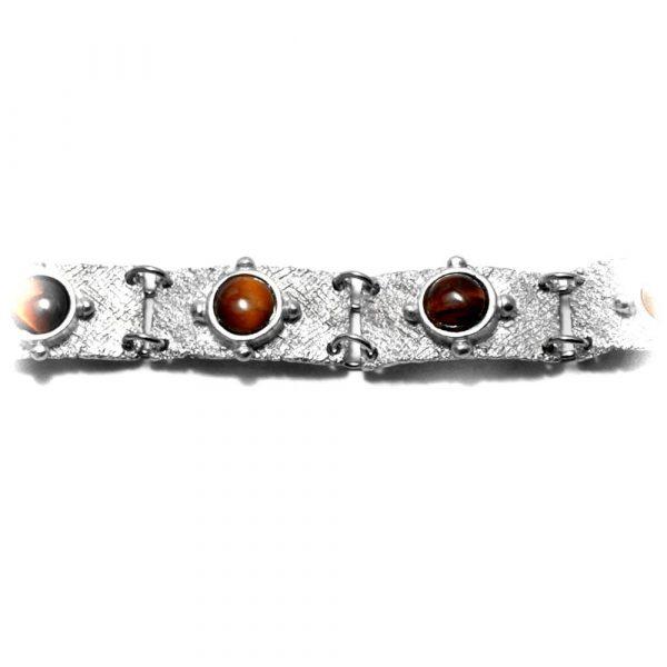 Bracelet plaques étain brut et pierres naturelles oeil de tigre