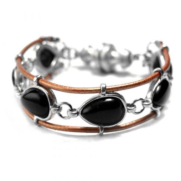 Bracelet sertissures larmes gouttes pierres naturelles agate noire