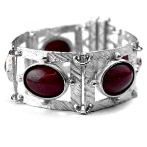 Bracelet style ancien étain brut pierres naturelles opales teintées violettes