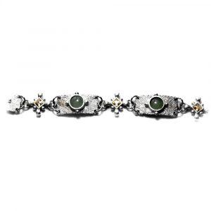 Bracelet style médiéval étain brut motifs croix strass et pierres-naturelles aventurine