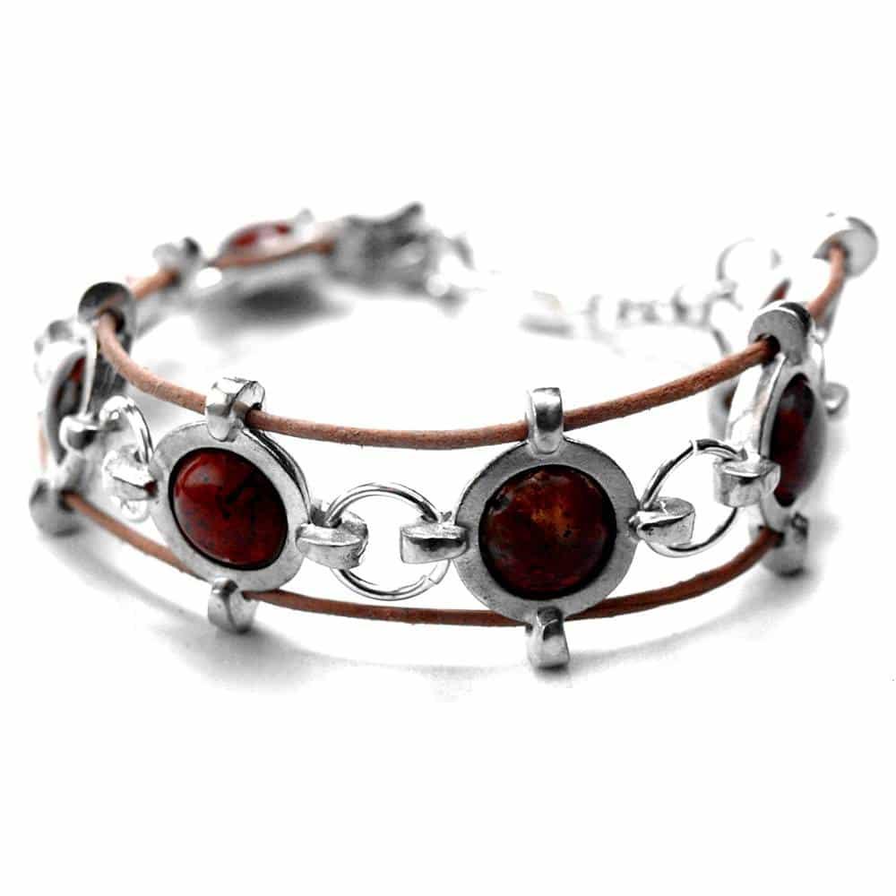 Bracelet style médiéval étain pierres naturelles jaspe poppy