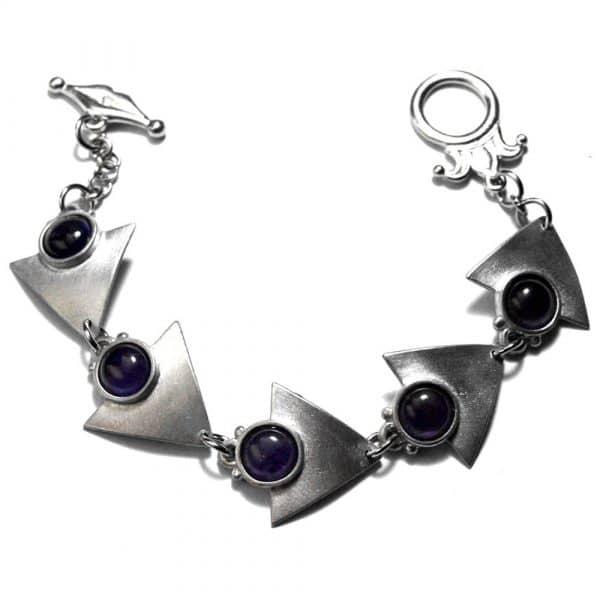 Bracelet triangles étain brossé pierres naturelles 8mm améthyste