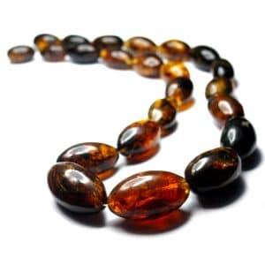 Collier ambres naturelles Mexique 60cm 23 perles olives 22 à 37mm nuances jaune orange_AMB_COL_002_001