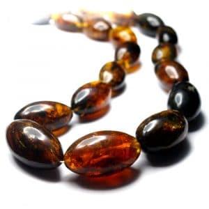 Collier ambres naturelles Mexique 60cm 23 perles olives 22 à 37mm nuances jaune orange_AMB_COL_002_002