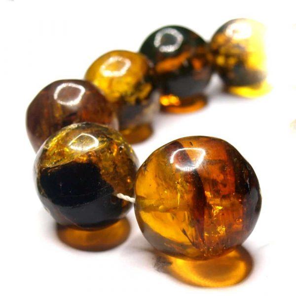 Collier ambres naturelles Mexique 60cm 39 perles rondes 12 à 22mm nuances jaune vert_AMB_COL_003_002