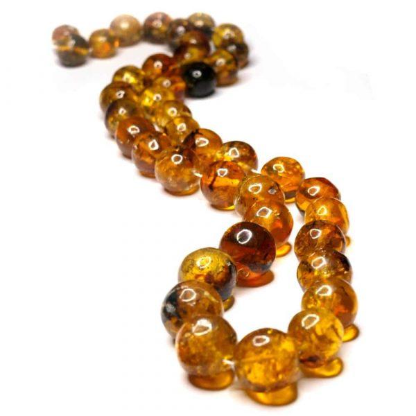Collier ambres naturelles Mexique 60cm 41 perles rondes 12 à 19mm nuances jaune_AMB_CL_004_001