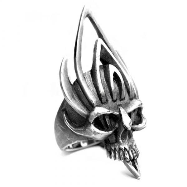 Grande bague tête de mort masque guerrier argent