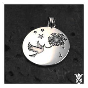 Médaille de baptème argent hirondelle et fleur de pissenlit