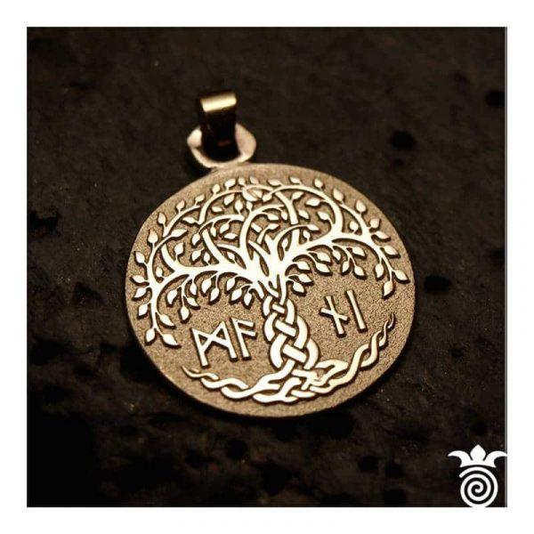 Médaille de naissance arbre de vie et initiales or jaune 375