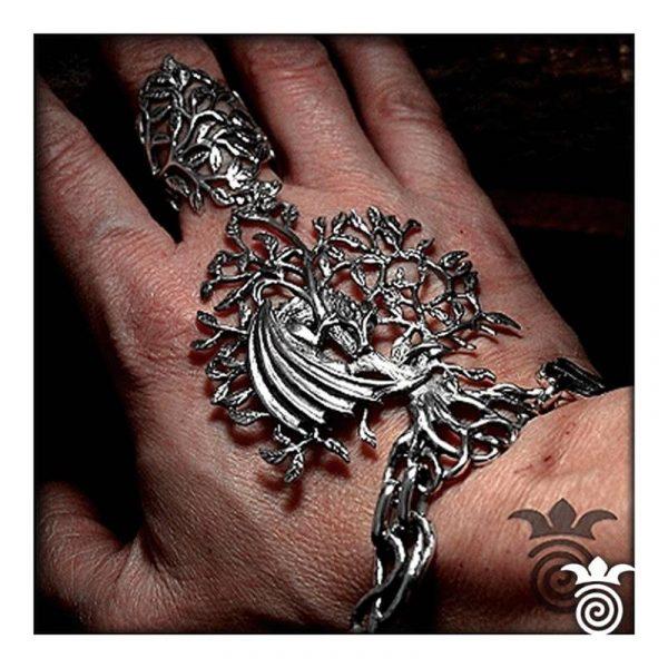Parure de main arbre de vie et dragon argent massif