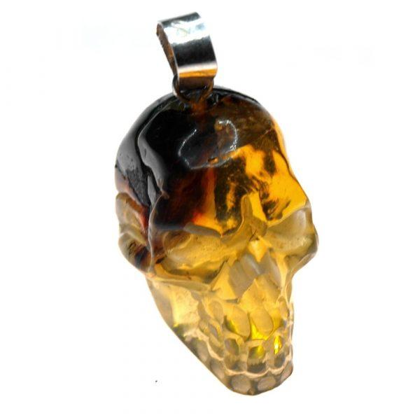 Pendentif ambre tête de mort 22x20x16mm 4.12gr jaune AMB_PDT_001_002