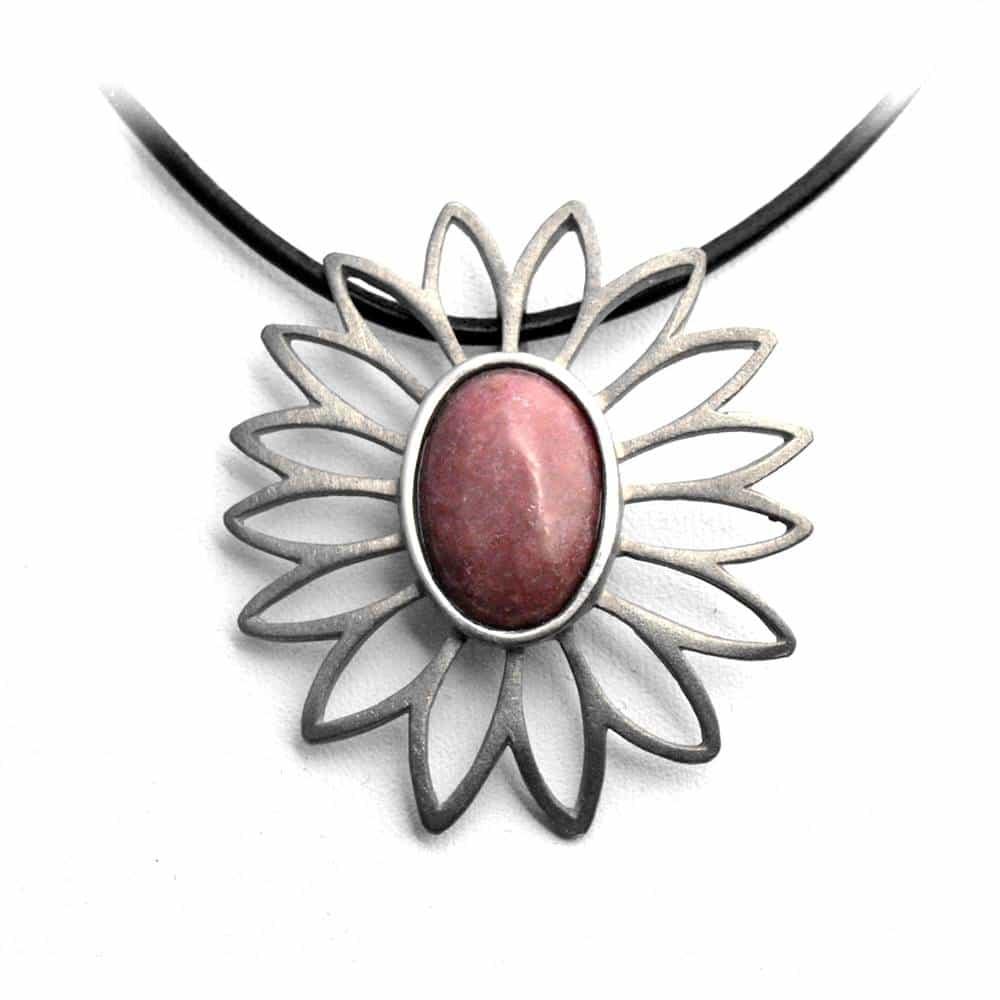 Pendentif fleur ajourée étain pierre naturelle ovale jaspe rose