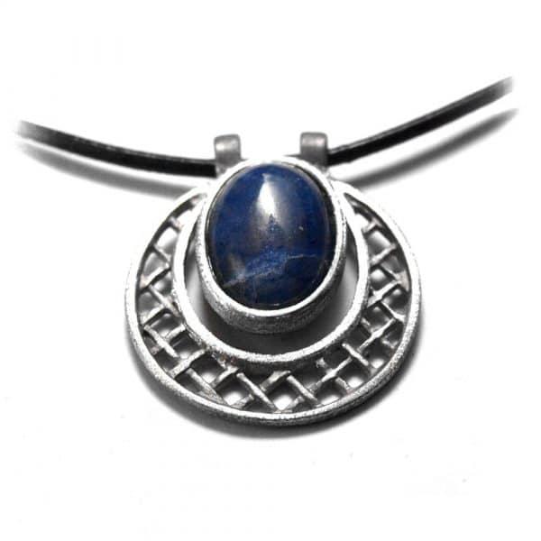 Pendentif rond et grille étain pierre naturelle sodalite cuir noir