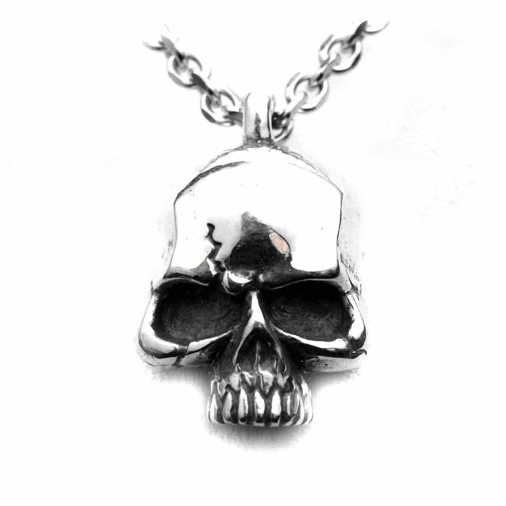 Pendentif tête de mort rock'n'roll argent