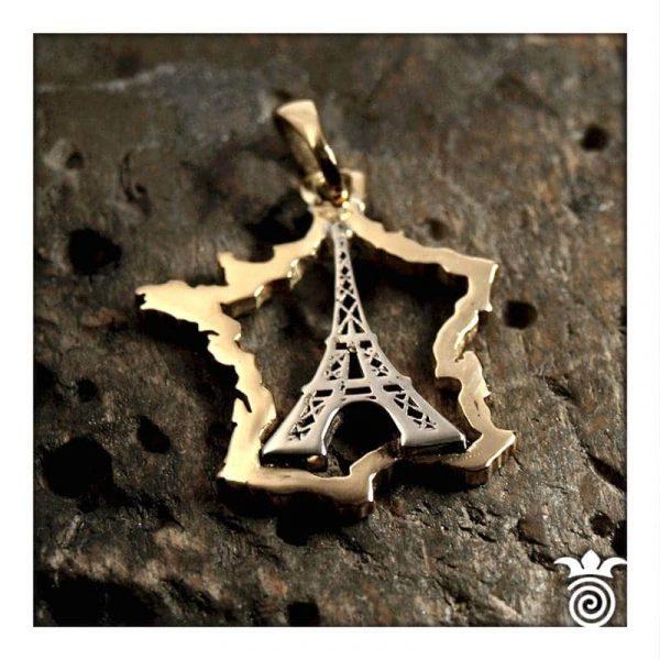 Pendentif Tour Eiffel et carte de France or blanc et or jaune