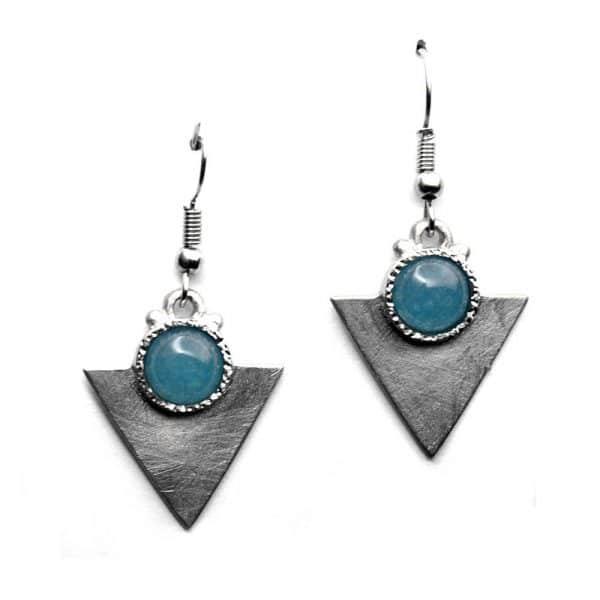 Petites boucles d'oreilles triangulaires pierre naturelle agate bleue